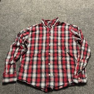 Chaps red white and blue plaid button-up shirt